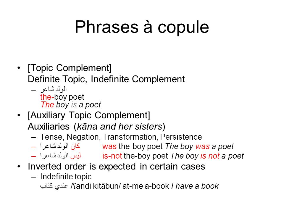 Phrases à copule [Topic Complement]